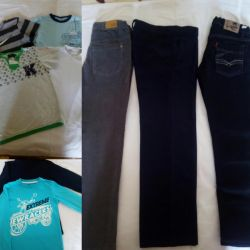 Jeans, T-shirts with long sleeves