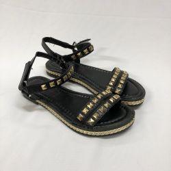 Sandale negre cu aur