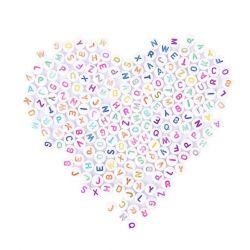 Χάντρες γράμματα αριθμούς καρδιές