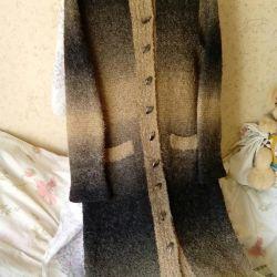 Пальто вязаное, длинное.Р-р48-50