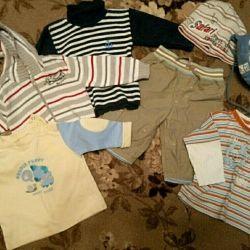 3-6 ay arası bir çocuk için giyim. (pantolon, şapka, süit
