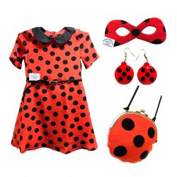 Lady Bug φόρεμα (σύνολο Chic 4 σε 1)