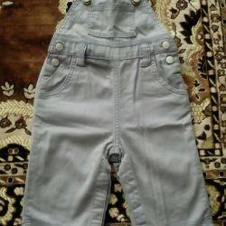 Denim overalls and baby bodysuit