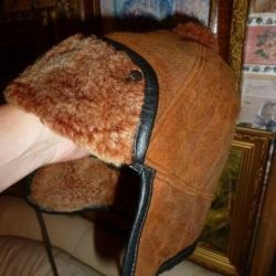 New hats made of natural sheepskin