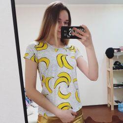 new t-shirt fruit banana ice cream cherry white