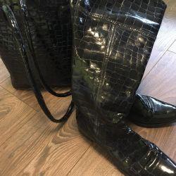 Сапоги кожаные и сумочка кожа Италия