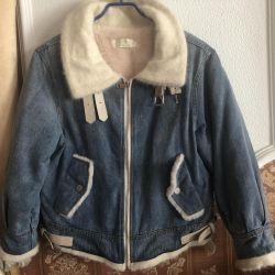 Jachetă caldă de denim (Angora plus piele)