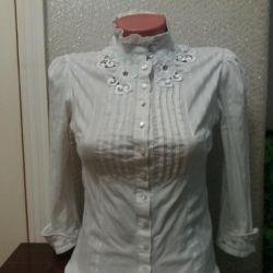 Λευκό πουκάμισο-μπλούζα συν δώρο