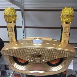 Колонка караоке с двумя микрофонами