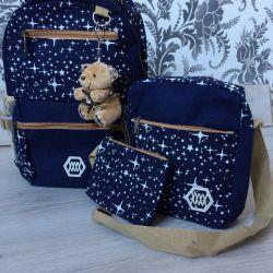Backpack handbag cosmetic bag set 3 in 1, dark blue