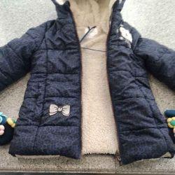 Куртка для девочки р.104+варежки в подарок.