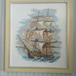 Embroidery sailboat