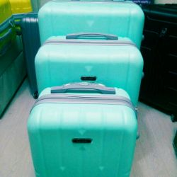 Suitcases made of polycarbonate.