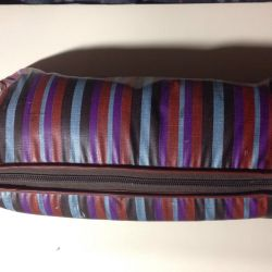 Large striped retro cosmetic bag