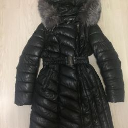 Leather winter down jacket