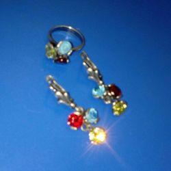 Комплект серьги и кольцо