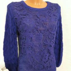 Blue warm sweater sweater sweater cardigan