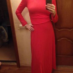 Red long cotton dress