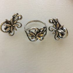 Ring silver earrings and ring