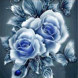 Set pentru broderie cu diamante Trandafiri albi
