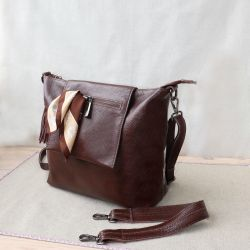 New brown genuine leather bag
