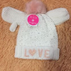 New branded hat with mittens