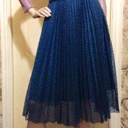 Skirt, aqua, pleated, 2 petticoats.