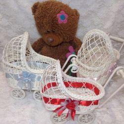 Decorative stroller, wicker, basket