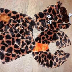 Costume wolf dog giraffe buffoon teddy bear rolling