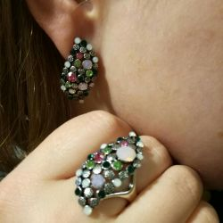 Earrings and ring, jewelry