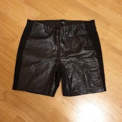 Leather and denim shorts 2 pieces