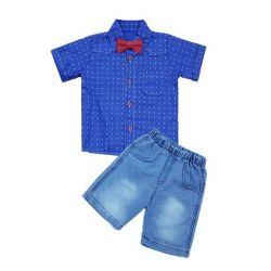 νέο κοστούμι (σορτς, πουκάμισο, λουλούδι)