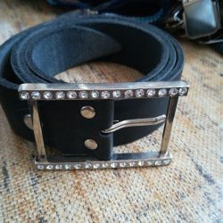Leather belts with rhinestones