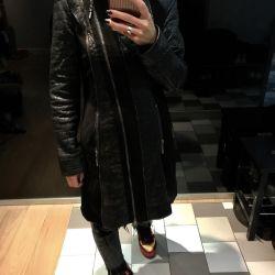 Пальто из натуральной кожи ягнeнка