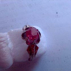 δαχτυλίδι, ασήμι 925 με αστέρι, επιχρυσωμένο