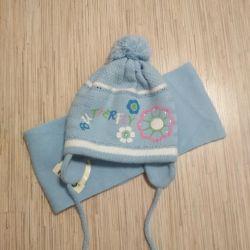 Шапка и шарф для девочки 3-5 лет