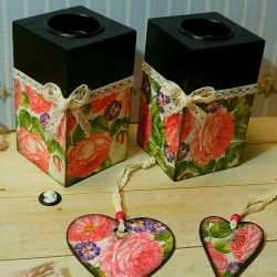 Candle holders set gifts decoupage decor