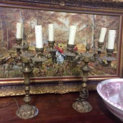 Candlesticks with wiring, antiques france