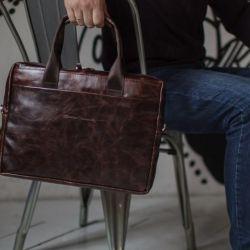 Мужская кожаная сумка. Коричневая