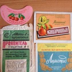 Old labels (Lemonade, Port, Stamps)