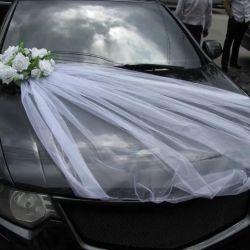 Wedding ribbon on cars