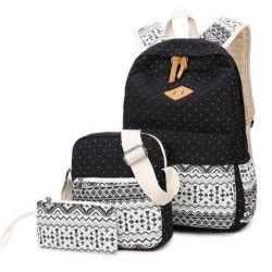 Women's backpack (set) Kombi black and white canvas