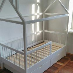 Children's bed house. Solid beechwood