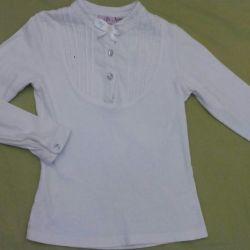 Școală pentru bluze, 100% bumbac, 122-128 cm