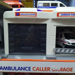 Garage ambulance and police with walkie-talkie