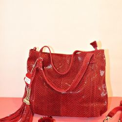 New leather bag red