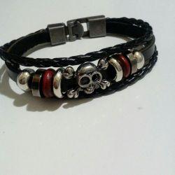 Women's leather + metal bracelet