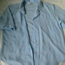 The blouse is female, blue, size 50-52