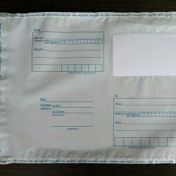 Plastic mail envelopes, packages