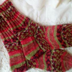 Female socks. Manual knitting.